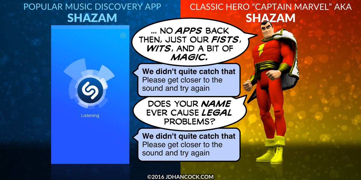 PopFig toy comic with Shazam (the app) and Shazam (the superhero).