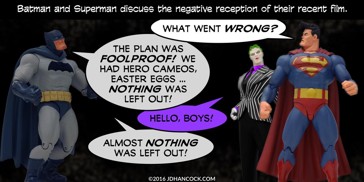 PopFig toy comic with Batman, Superman, and the Joker.