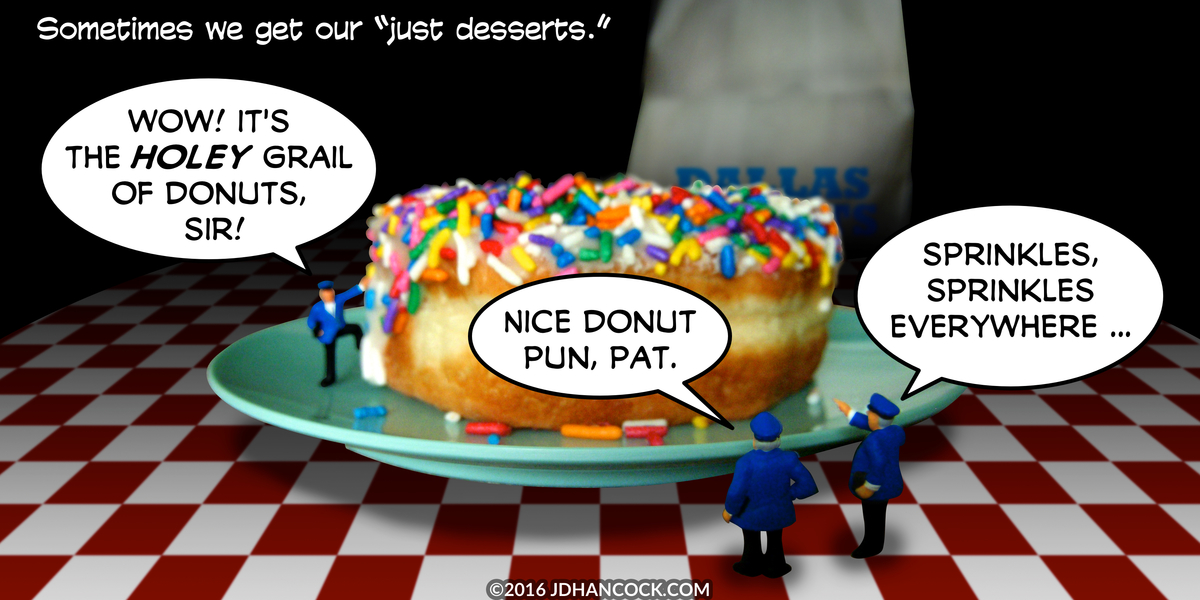 PopFig toy comic with police officers examining a giant donut.
