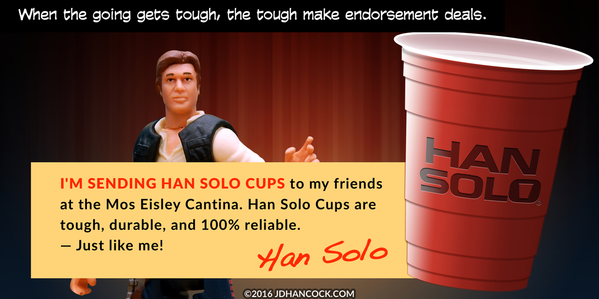 PopFig toy comic with Han Solo endorsing Han Solo Cups.