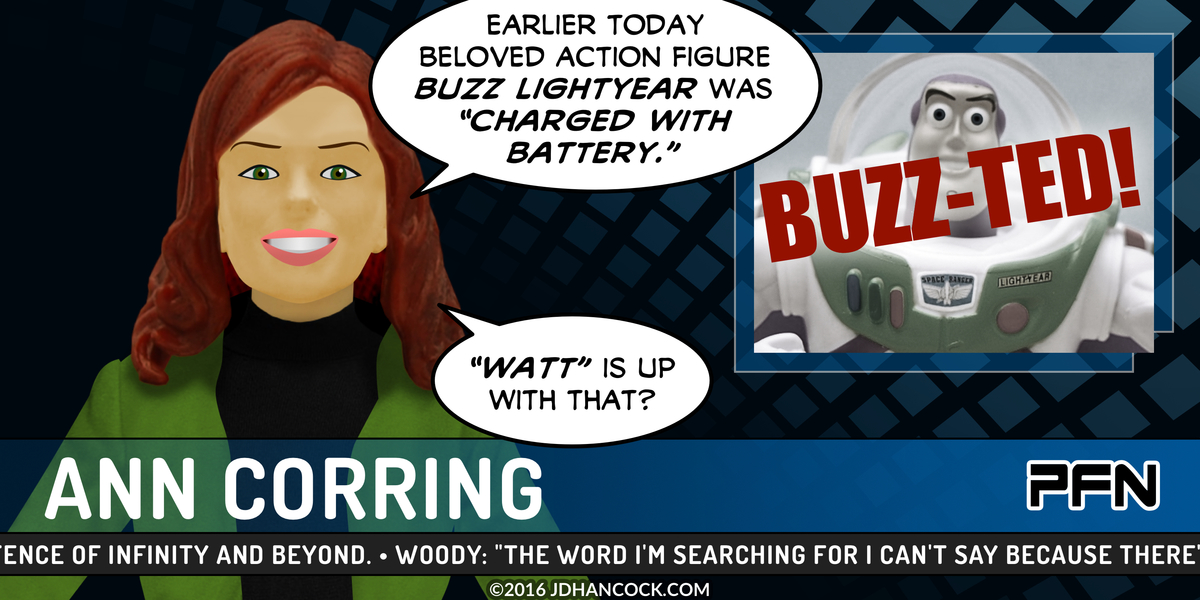 PopFig toy comic with Buzz Lightyear in the news.