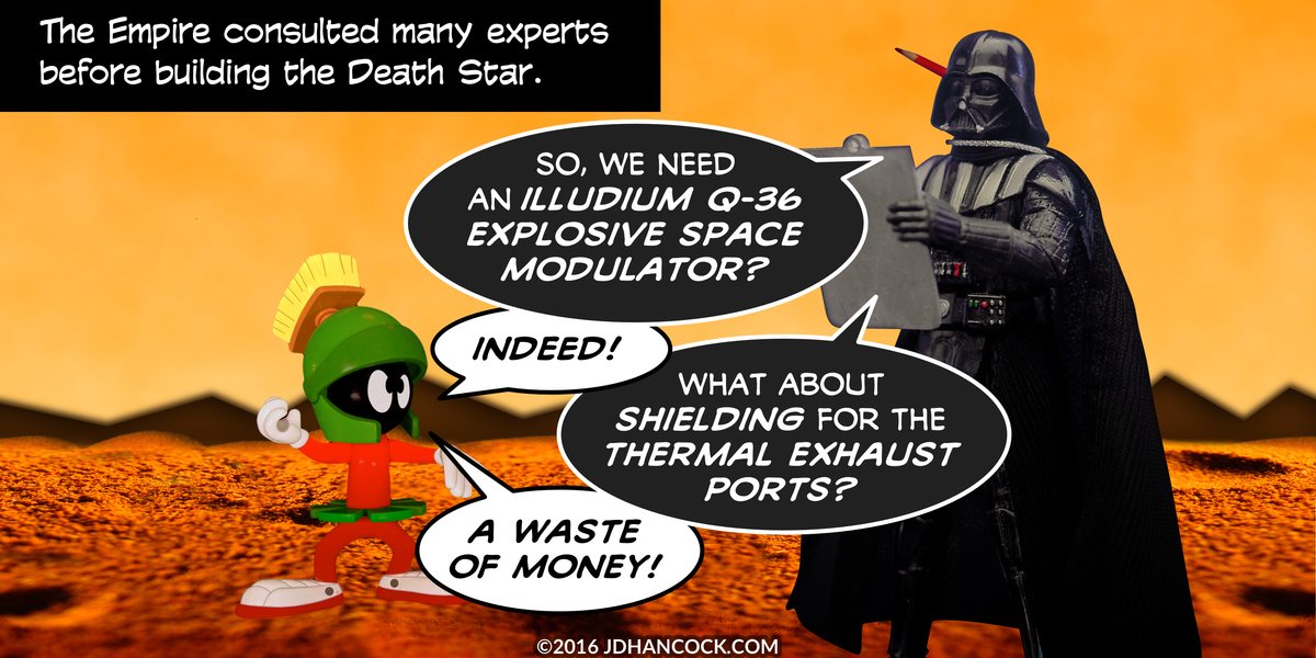 PopFig toy comic with Marvin the Martian and Darth Vader.