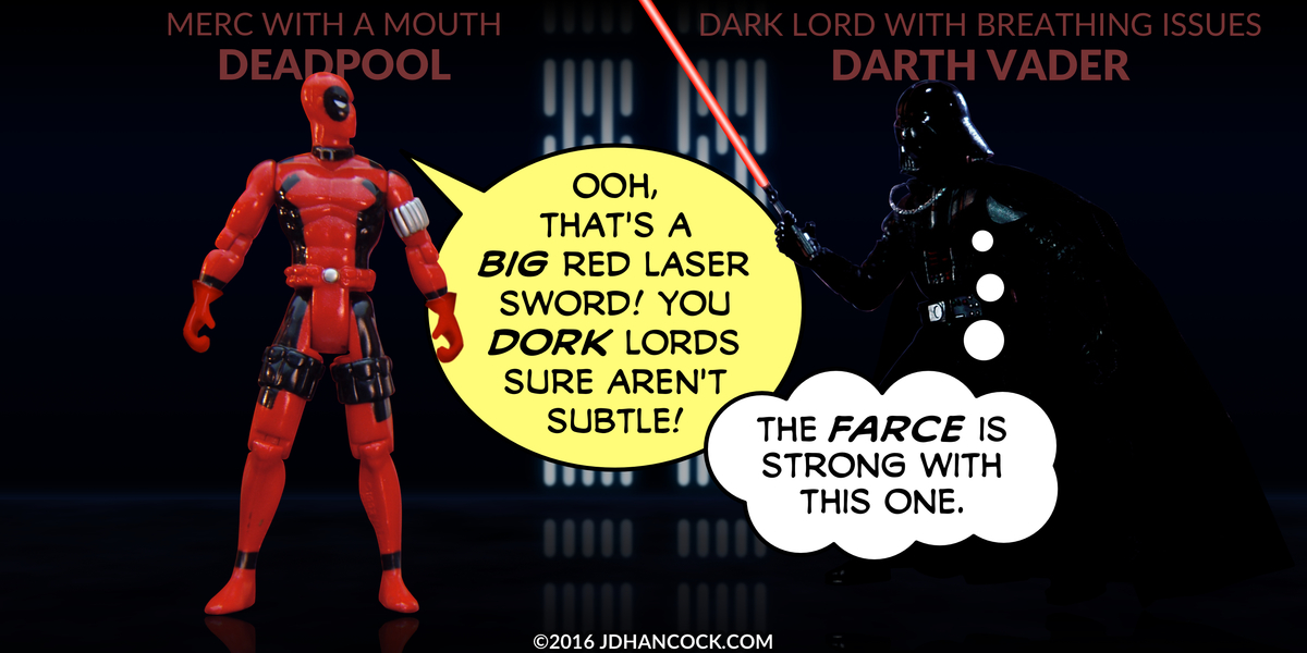 PopFig toy comic with Deadpool and Darth Vader.