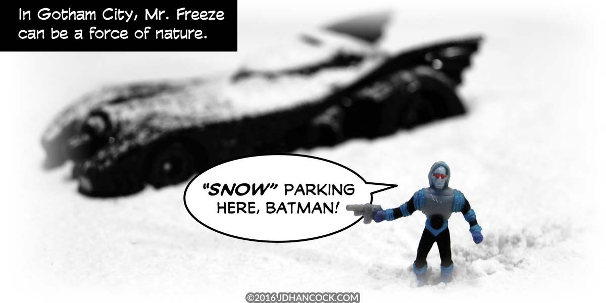 PopFig toy comic with Mr. Freeze and the Batmobile.