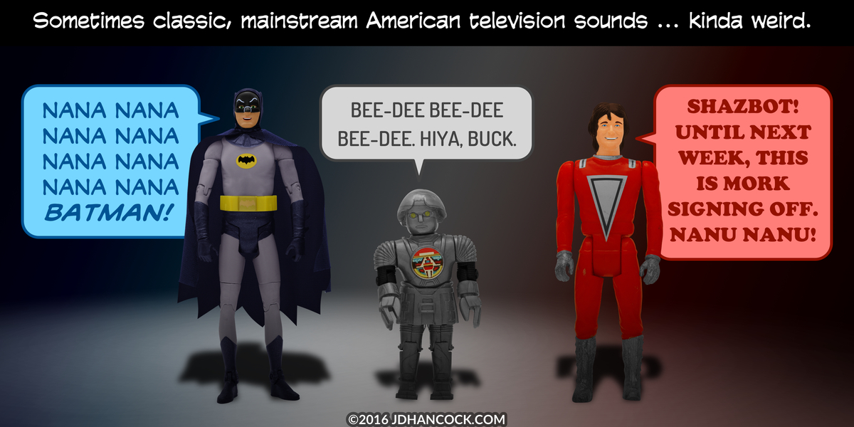 PopFig toy comic with Batman, Twiki, and Mork.