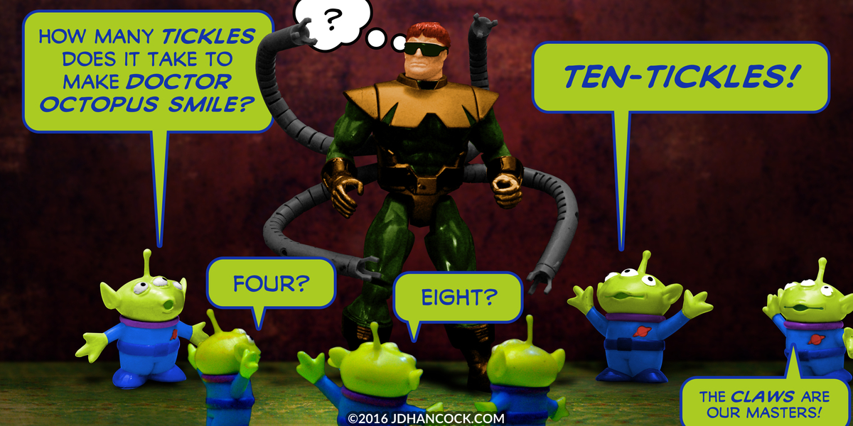 PopFig toy comic with Doctor Octopus and several green aliens.