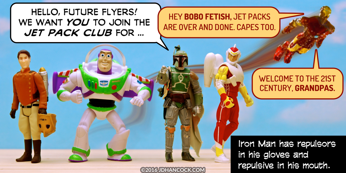 PopFig toy comic with several heroes with jet packs and Iron Man.