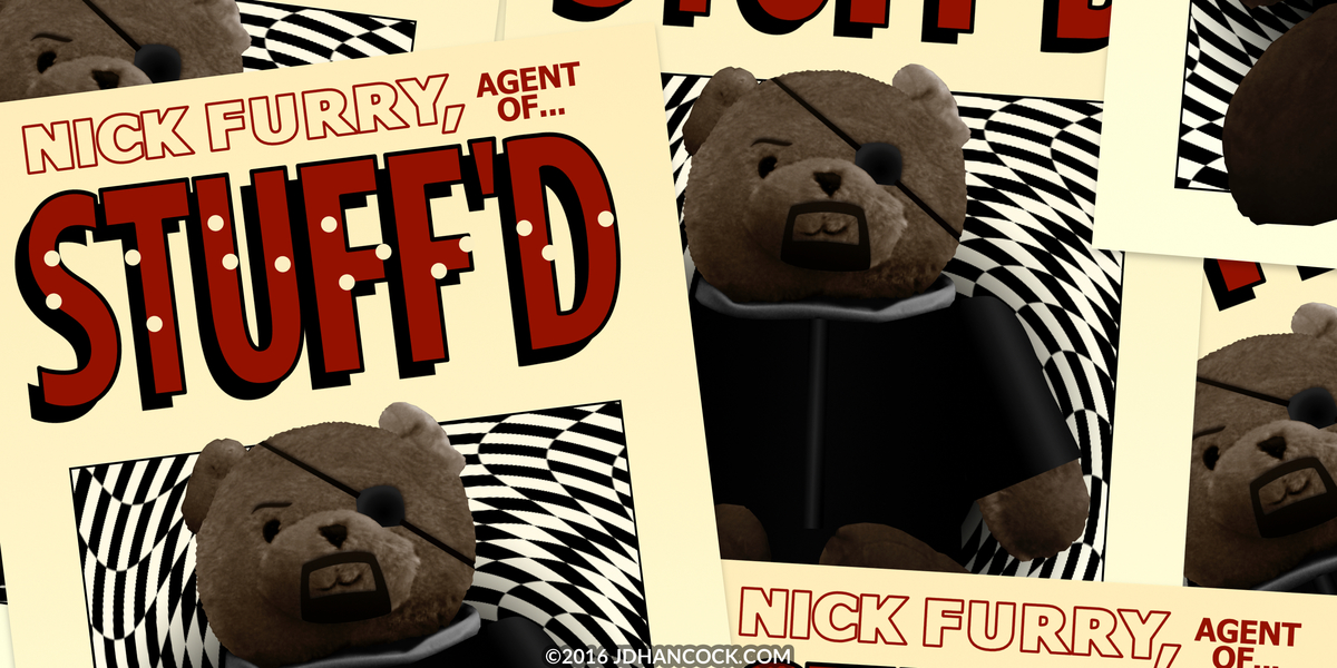PopFig toy comic with Nick Furry, Agent of STUFF'D.