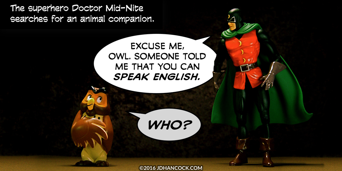 PopFig toy comic with Owl and Doctor Mid-Nite.