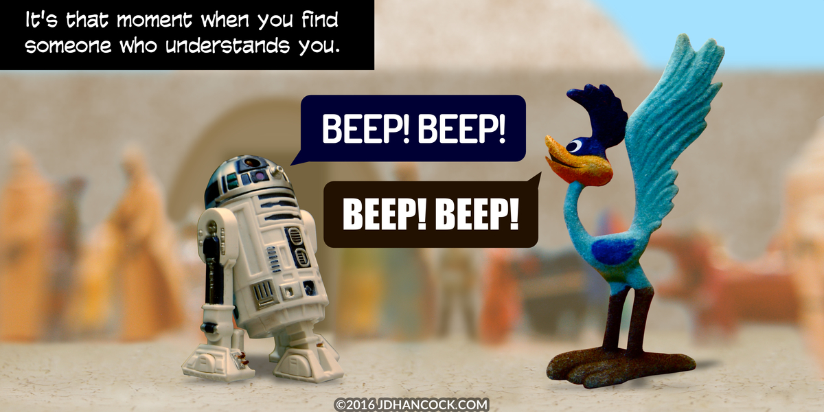PopFig toy comic with R2-D2 and Road Runner.