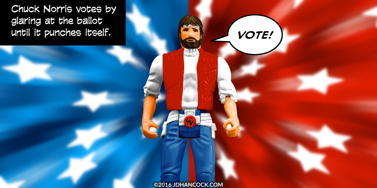 PopFig toy comic with Chuck Norris.
