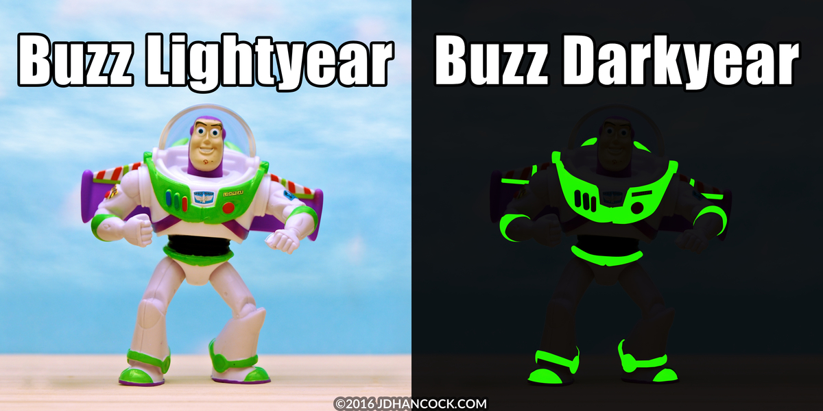 PopFig toy comic with Buzz Lightyear in the day and night.