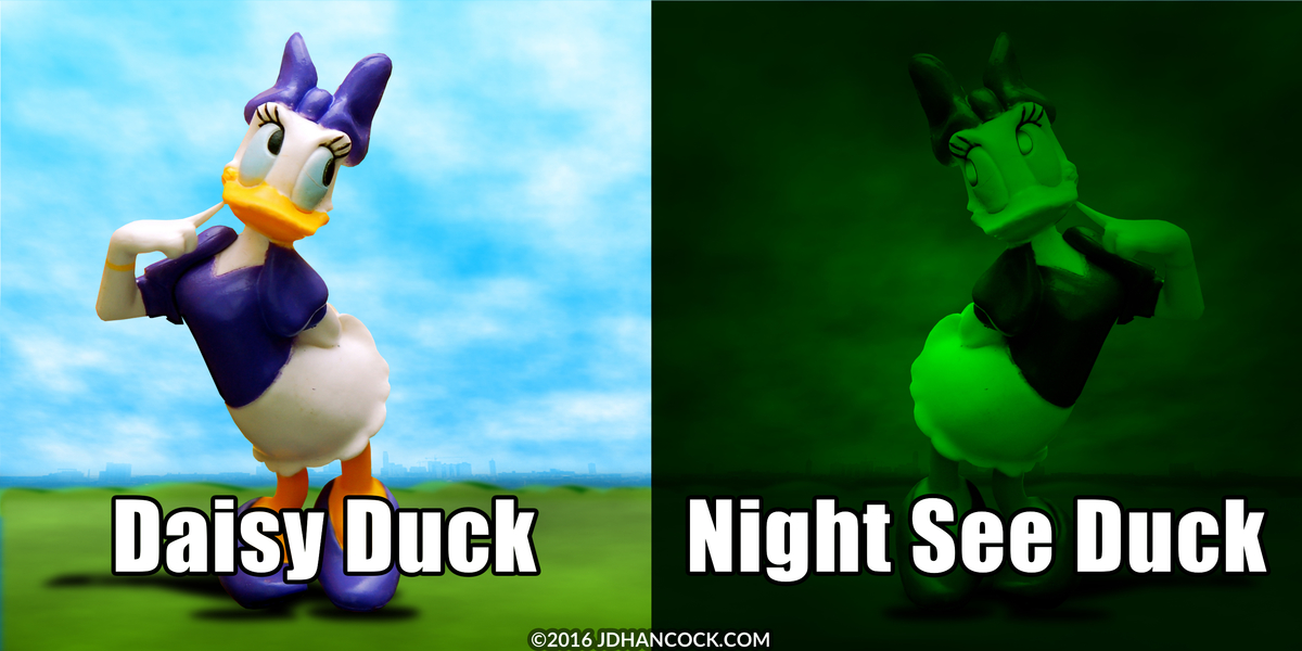 PopFig toy comic with Daisy Duck, normally vs with night vision.