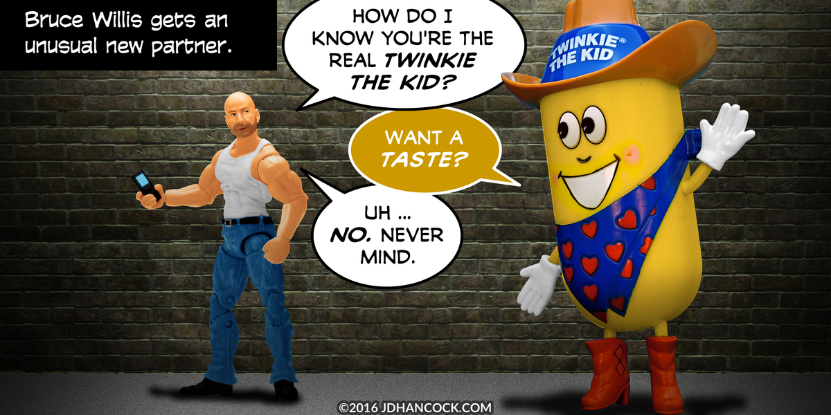 PopFig toy comic with Bruce Willis and Twinkie the Kid.