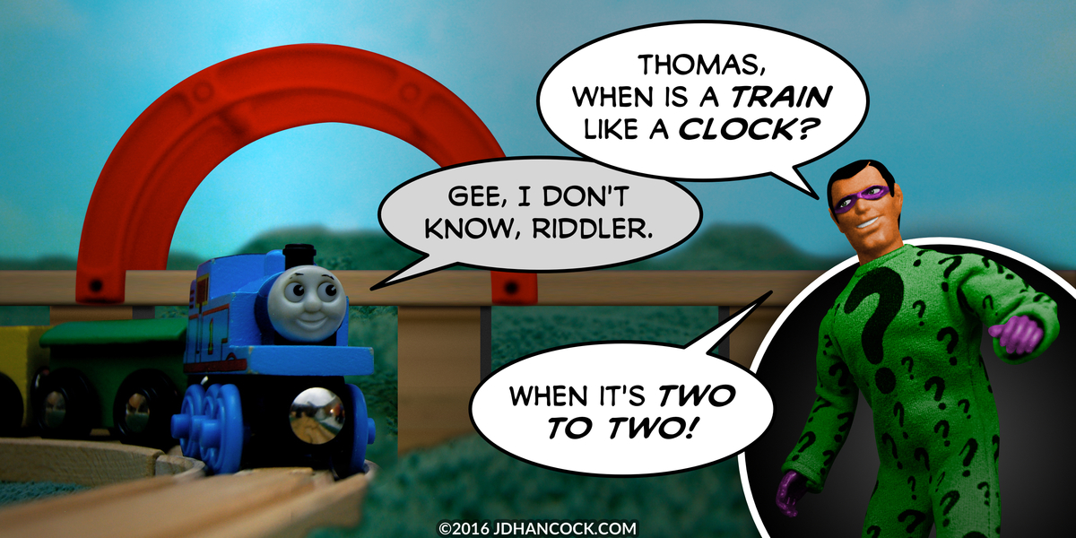 PopFig toy comic with Thomas the Tank Engine and the Riddler.