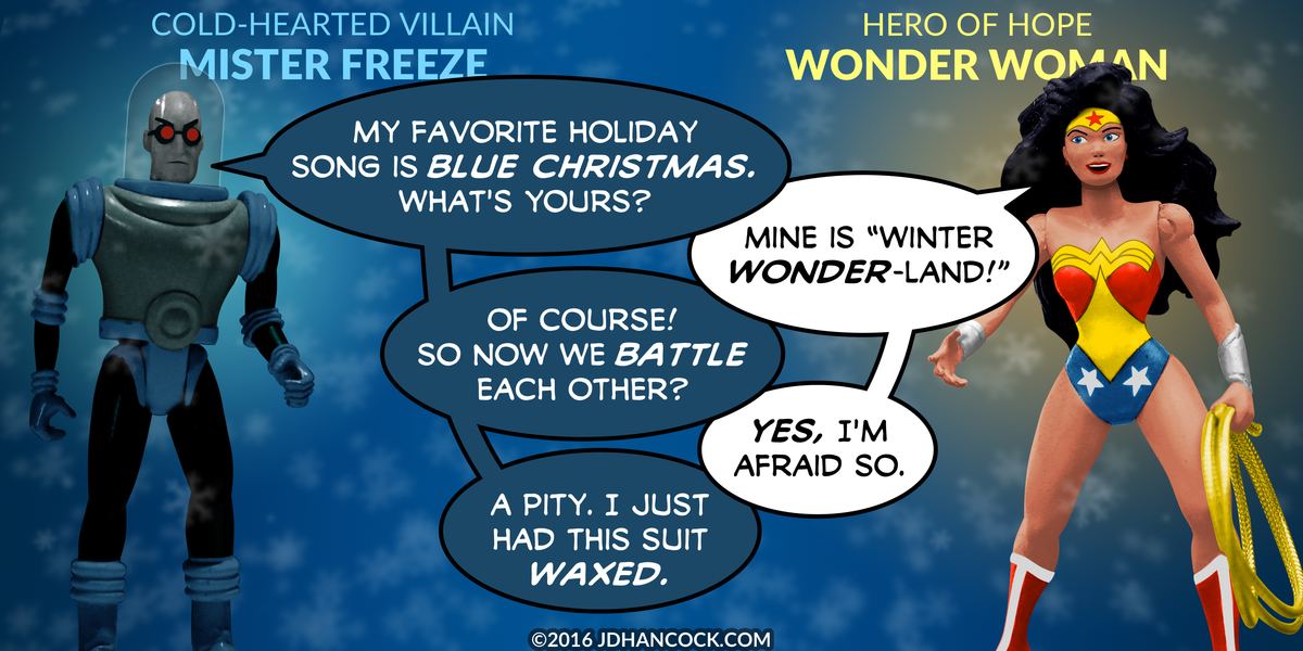 PopFig toy comic with Mr. Freeze and Wonder Woman.