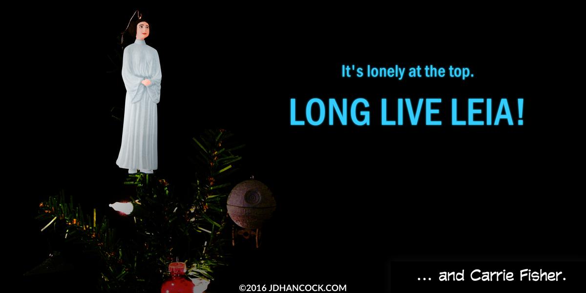 PopFig toy comic with Princess Leia atop a Christmas tree.