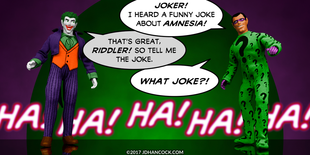 PopFig toy comic with Joker and the Riddler.