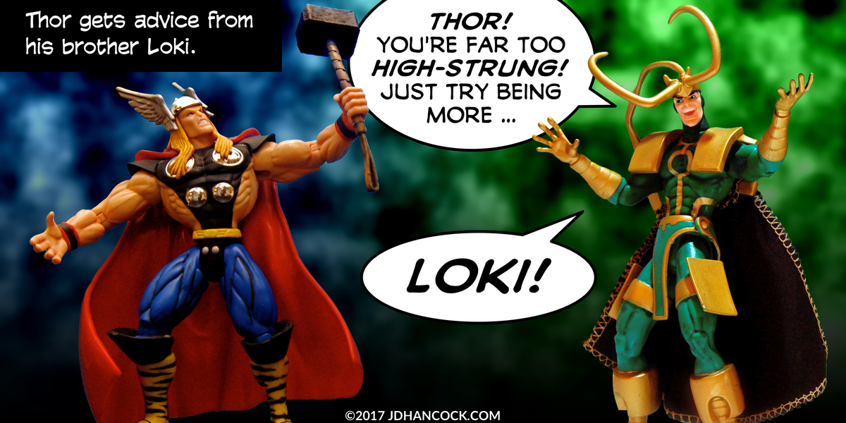 PopFig toy comic with Thor and Loki.