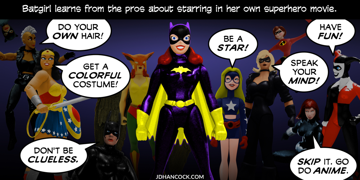 PopFig toy comic with Batgirl and friends.