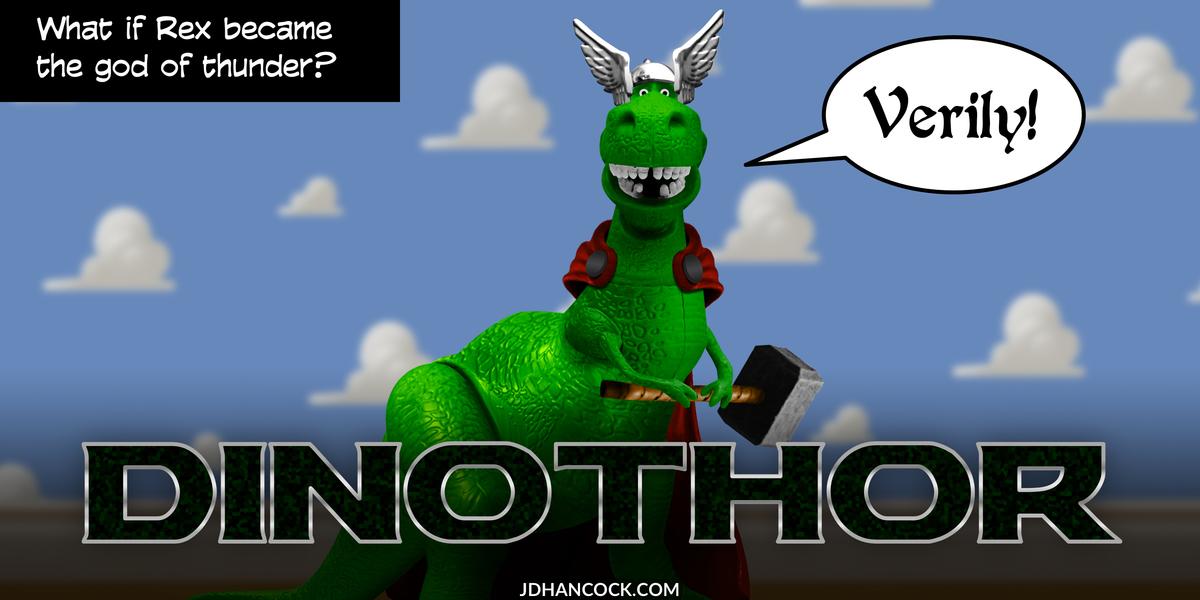 PopFig toy comic with Rex the dinosaur as Thor.