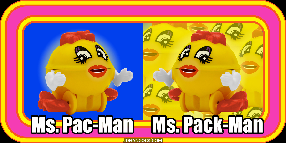PopFig toy comic with Ms. Pac-Man and more Ms. Pac-Mans.
