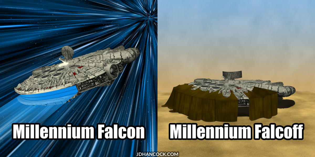 PopFig toy comic with the Millennium Falcon.