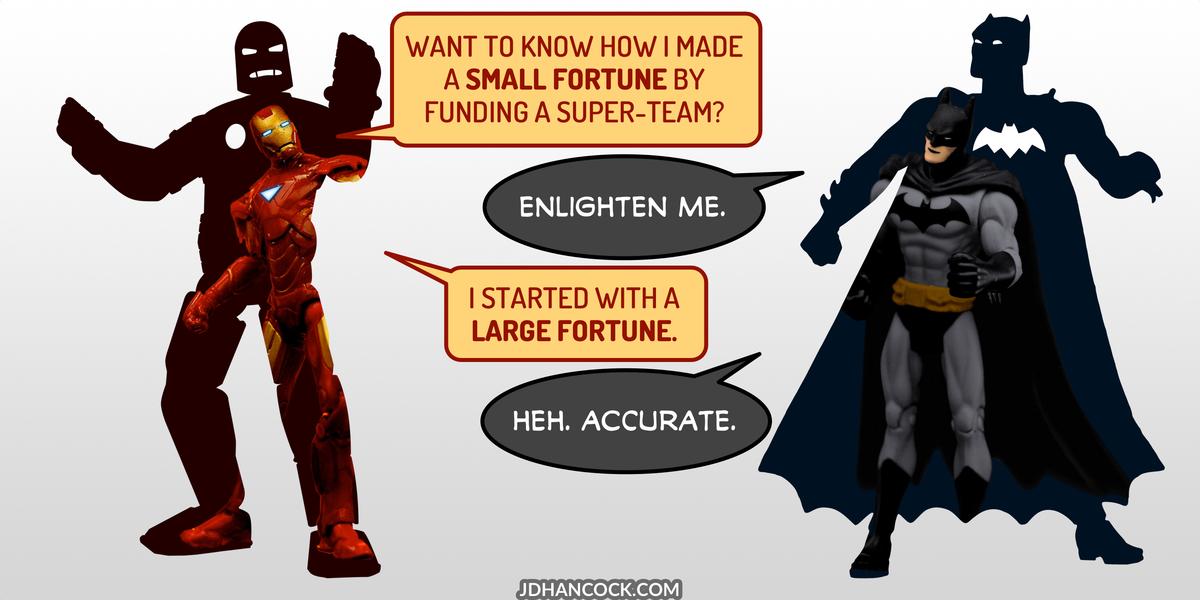 PopFig toy comic with Iron Man and Batman.