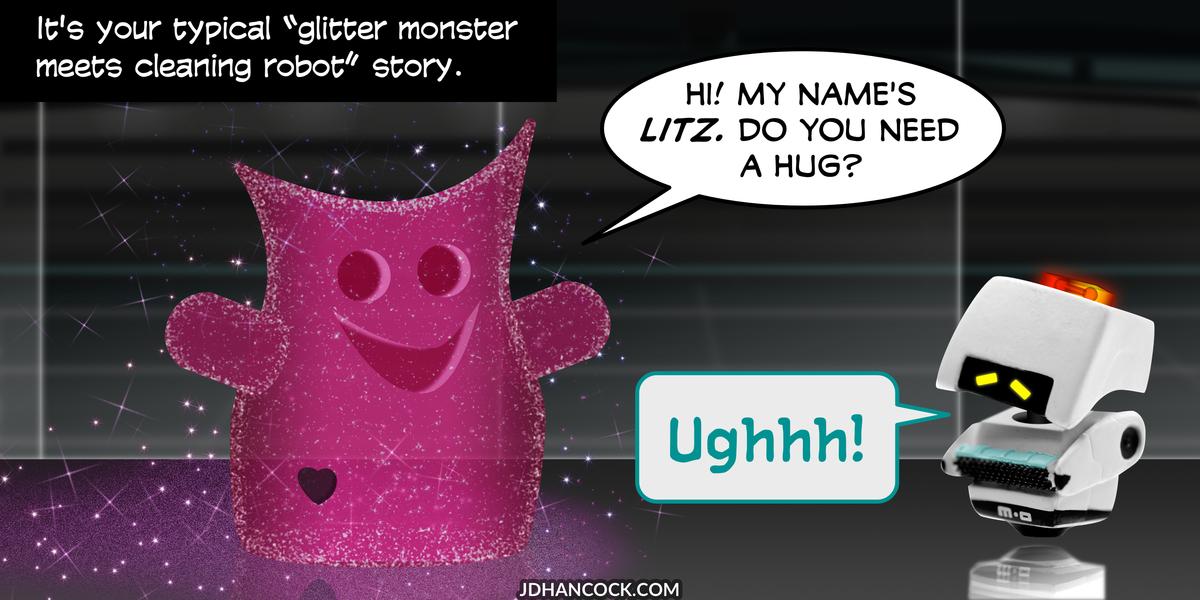 PopFig toy comic with Litz and M-O.