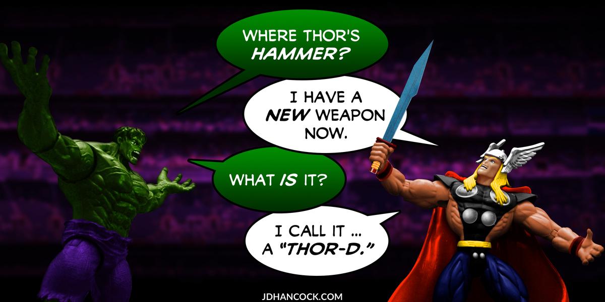PopFig toy comic with Hulk and Thor.