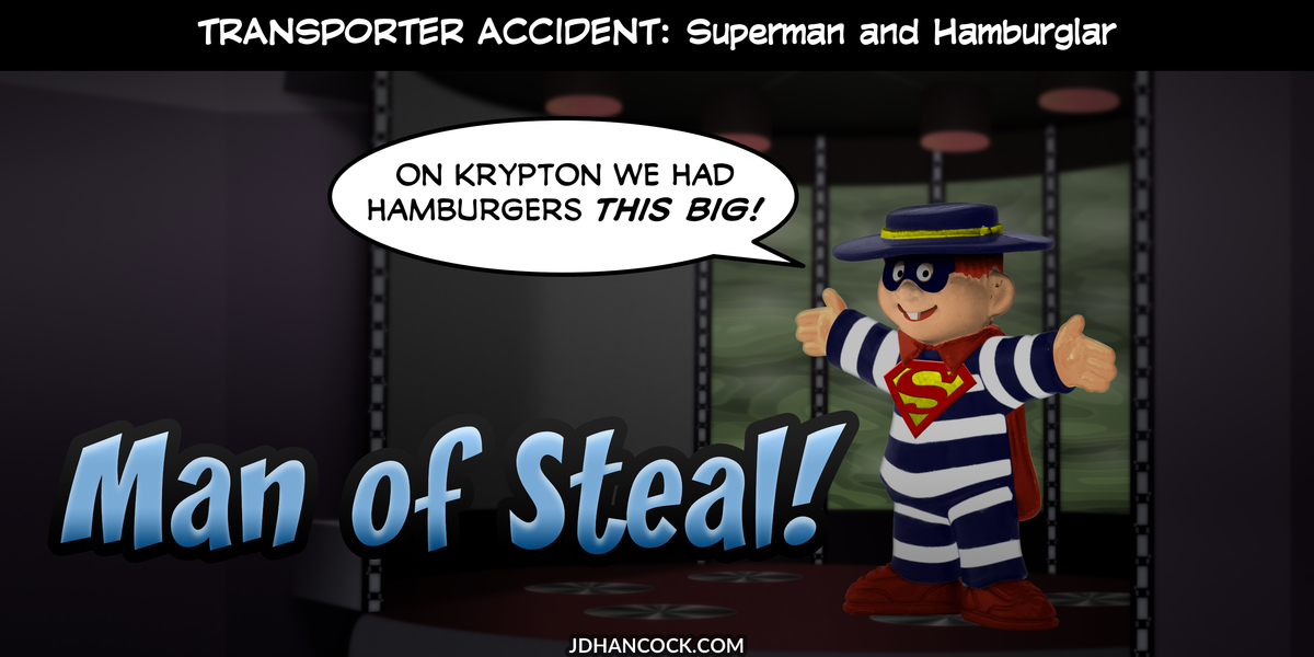 PopFig toy comic with Superman and Hamburglar.