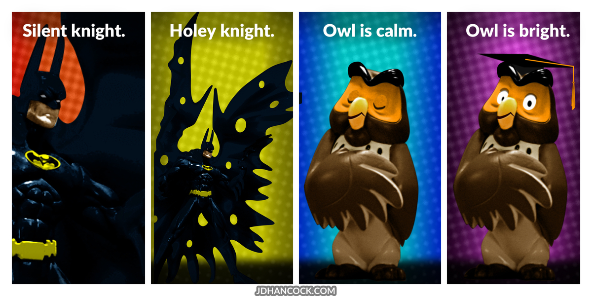 PopFig toy comic with Batman and Owl.
