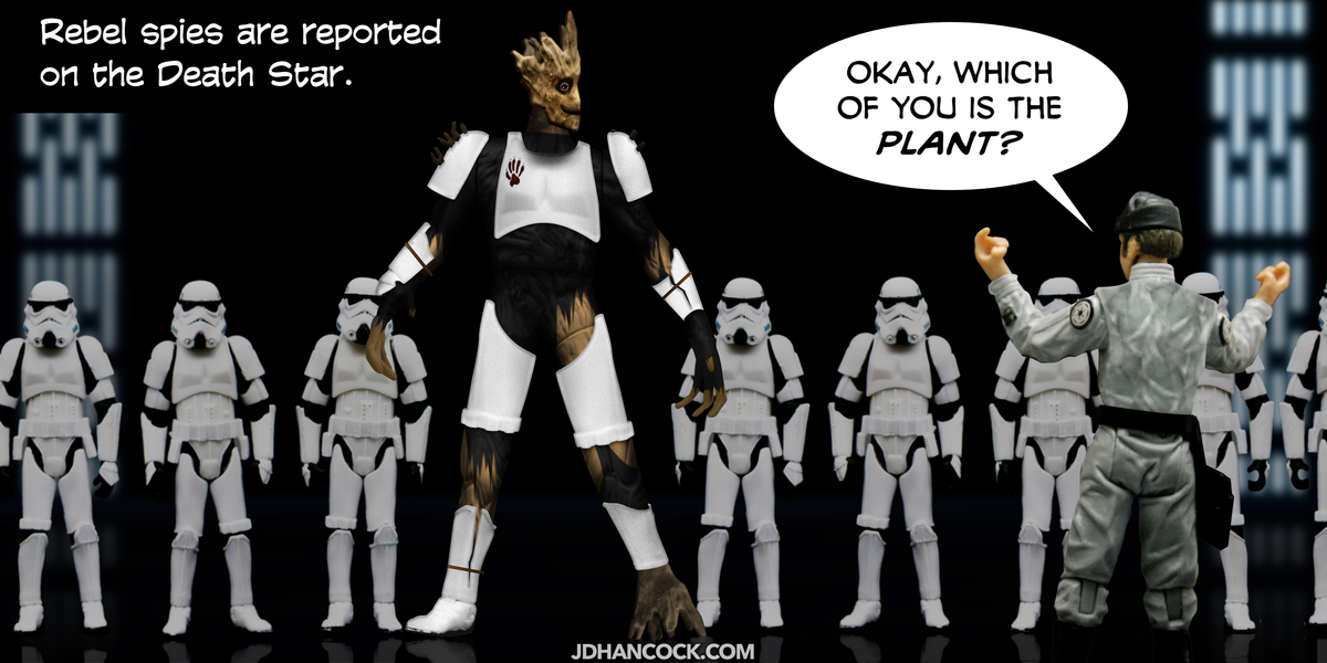 PopFig toy comic with Groot undercover among the stormtroopers.
