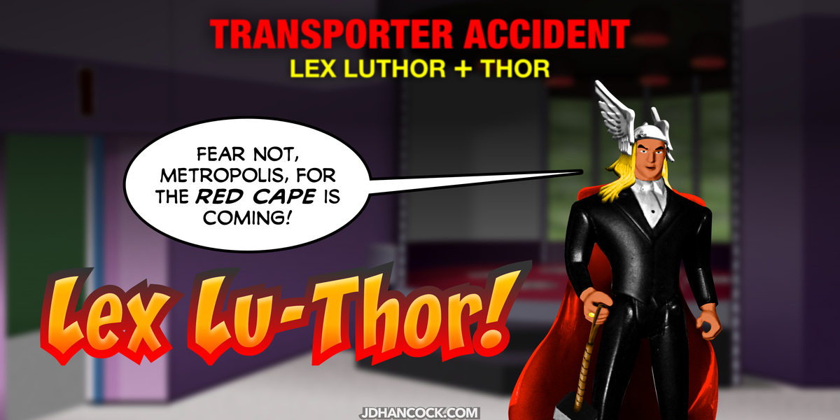PopFig toy comic with Lex Luthor and Thor.