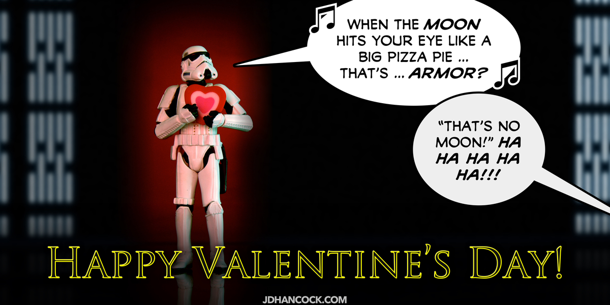 PopFig toy comic with a stormtrooper on Valentine's Day.