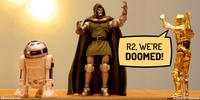 PopFig toy comic with R2-D2, Doctor Doom, and C-3PO.