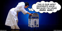 PopFig toy comic with Star Wars' Leia and R2-D2 as a postal box.