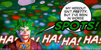 PopFig toy comic with the Joker under a spotted tapestry.