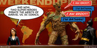 PopFig toy comic with Tina Fey on SNL with Groot and Batman.