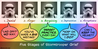 PopFig toy comic with five identical photos of a stormtrooper.