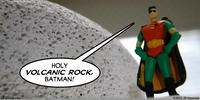 PopFig toy comic with Robin standing next to a pumice stone.