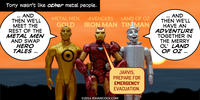 PopFig toy comic with Gold, Iron Man, and Tin Man.