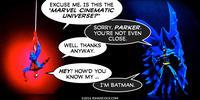 PopFig toy comic with Spider-Man and Batman.