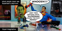 PopFig toy comic with Superman in his super-playroom.