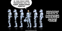 PopFig toy comic with Han Solo marching with stormtroopers.