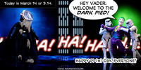 PopFig toy comic with Darth Vader with pie on his face and Joker.