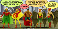PopFig toy comic with several superheroes talking.