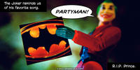PopFig toy comic with Joker with a Batman 1989 soundtrack album.