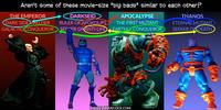 PopFig toy comic with the Emperor, Darkseid, Apocalypse, and Thanos.