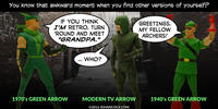 PopFig toy comic with the 1940's, 1970's, and modern Green Arrow.